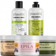 Pack DIAMANTA Olive : shampoing argile + après champoing +crème main+masque ghassoul à l'argile marron +pâte dépilatoire au miel