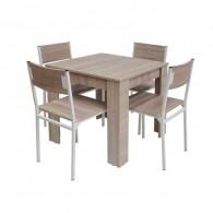 Pack Salle à Manger Flora avec 4 Chaises Serena Chêne Brut Socle Blanc