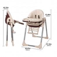 Chaise Haute Bébé Inclinable Avec Hauteur Repose-Pieds Réglables