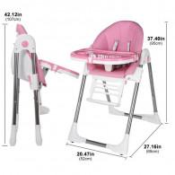 Chaise Haute Bébé Inclinable Avec Hauteur Repose-Pieds Réglables - Rose