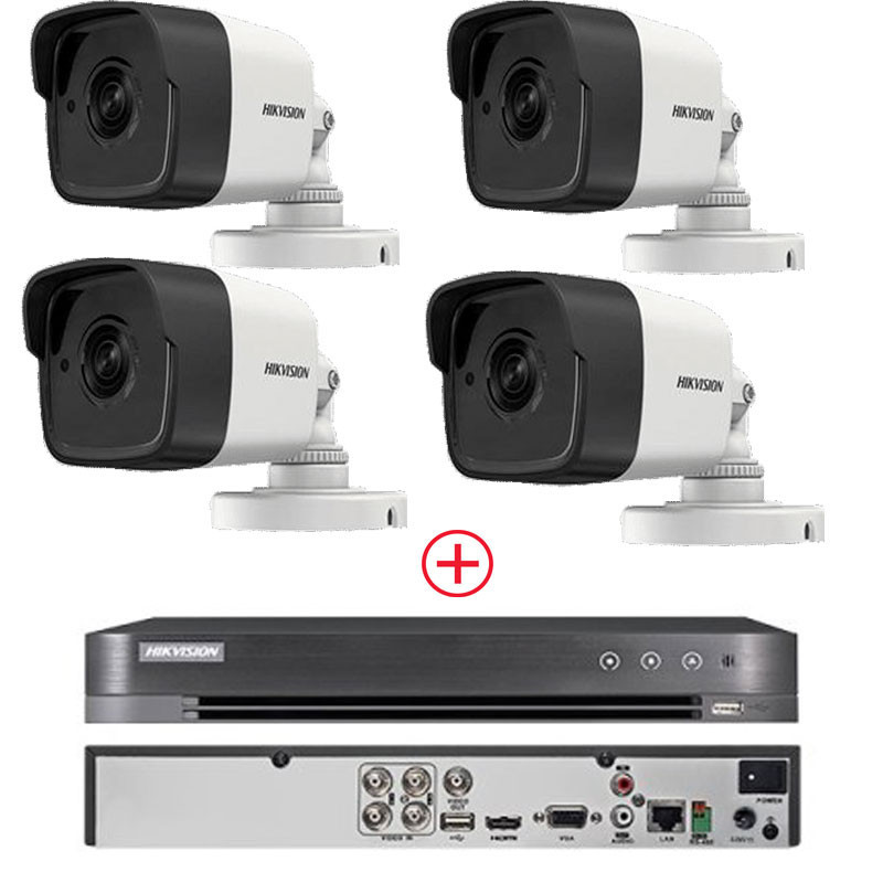 Pack : 4 X Caméra Tube Hikvision 2 MP Ir 30m AHD + DVR 4 Canaux