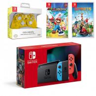 Console De Jeux Nintendo Switch + Joy-Con Neon + 2 Jeux + Accessoire